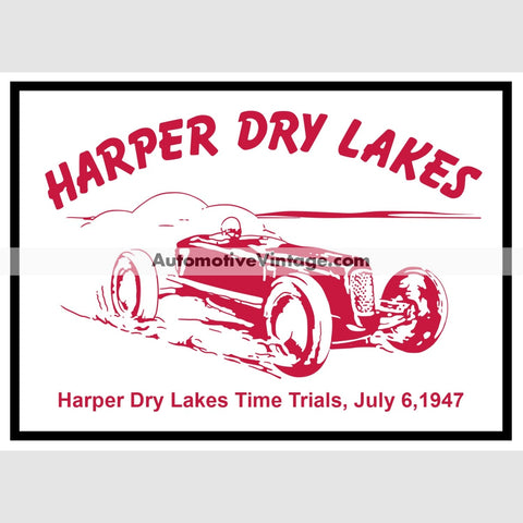 Harper Dry Lakes 1947 Drag Racing Car Sticker Stickers