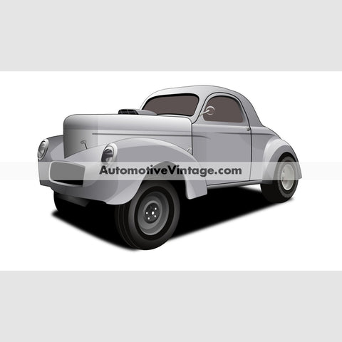 Hot Rod Movie Willys Indoor Car Wall Sticker 12 Wide / Matte Finish