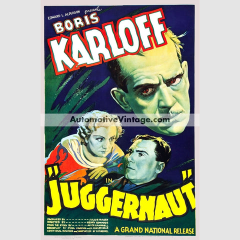 Juggernaut (1936) - Nostalgic Full Color Premium Movie Poster 18 Wide × 24 High
