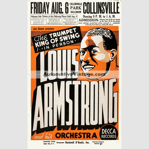 Louis Armstrong Nostalgic Music 13 X 19 Concert Poster Wide High