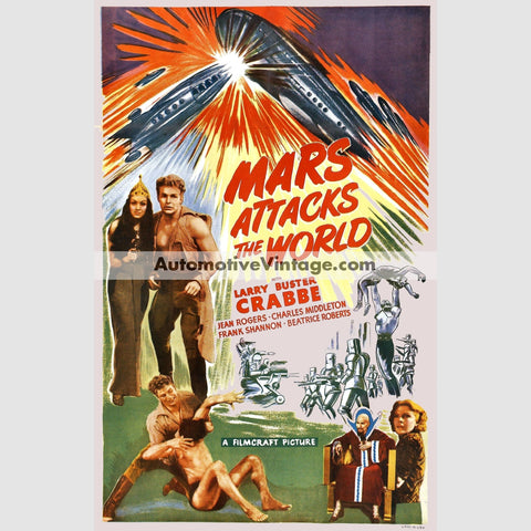 Mars Attacks The World (1938) - Nostalgic Full Color Premium Movie Poster 18 Wide × 24 High