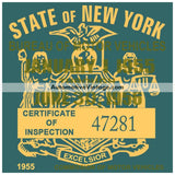 Vintage 1955 New York Windshield Inspection Sticker