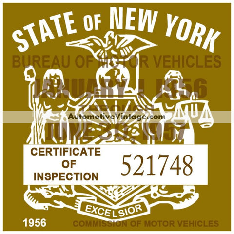 Vintage 1956 New York Windshield Inspection Sticker