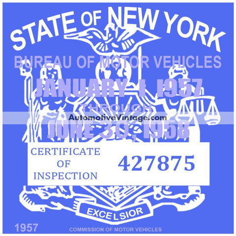 Vintage 1957 New York Windshield Inspection Sticker