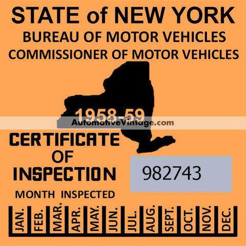 Vintage 1958-59 New York Windshield Inspection Sticker