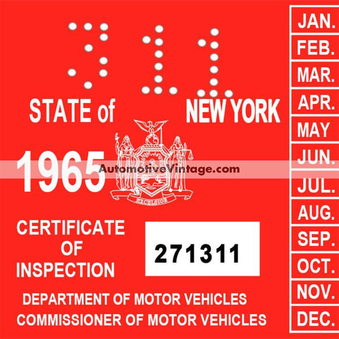 Vintage 1965 New York Windshield Inspection Sticker