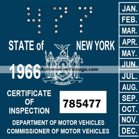 Vintage 1966 New York Windshield Inspection Sticker