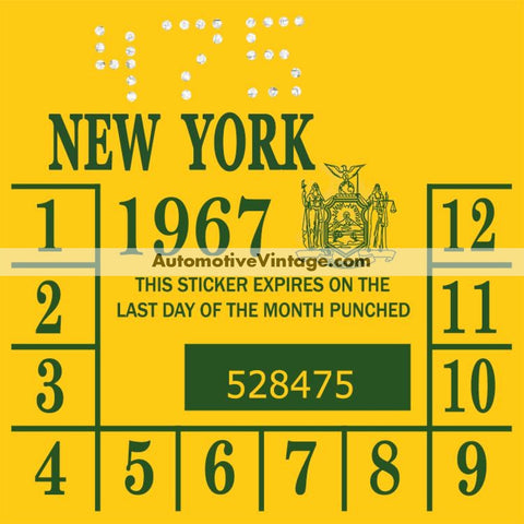 Vintage 1967 New York Windshield Inspection Sticker