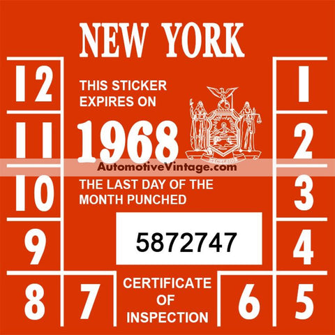 Vintage 1968 New York Windshield Inspection Sticker