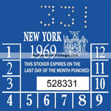Vintage 1969 New York Windshield Inspection Sticker