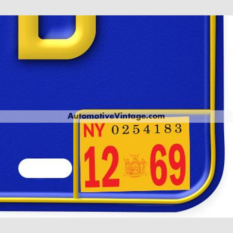 New York 1969 Vintage License Plate Registration Sticker
