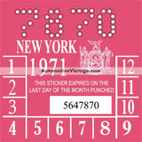 Vintage 1971 New York Windshield Inspection Sticker