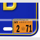 New York 1971 Vintage License Plate Registration Sticker