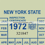 Vintage 1972 New York Windshield Inspection Sticker