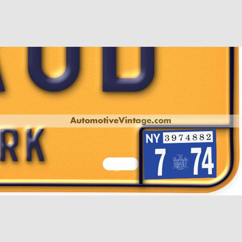 New York 1974 Vintage License Plate Registration Sticker