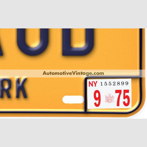 New York 1975 Vintage License Plate Registration Sticker