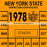 Vintage 1978 New York Windshield Inspection Sticker