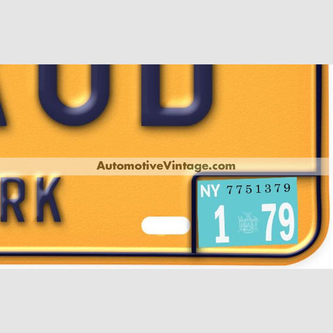 New York 1979 Vintage License Plate Registration Sticker