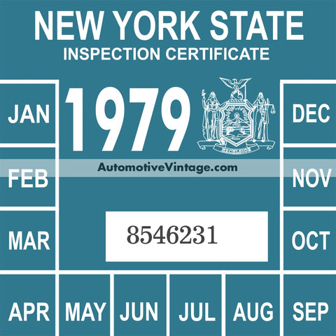 Vintage 1979 New York Windshield Inspection Sticker