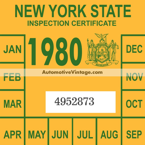 Vintage 1980 New York Windshield Inspection Sticker