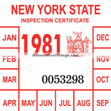 Vintage 1981 New York Windshield Inspection Sticker