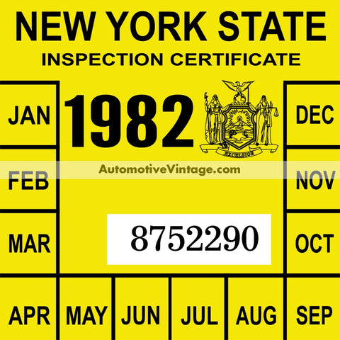 Vintage 1982 New York Windshield Inspection Sticker