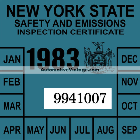 Vintage 1983 New York Windshield Inspection Sticker