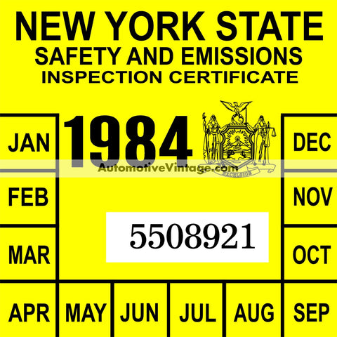 Vintage 1984 New York Windshield Inspection Sticker