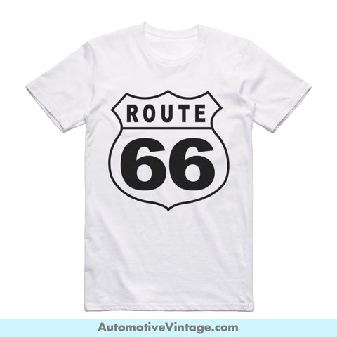 Route 66 Short Sleeve Car T-Shirt White / S Front Of Shirt T-Shirt