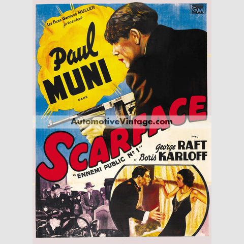 Scarface (1932) - Nostalgic Full Color Premium Movie Poster 18 Wide × 24 High