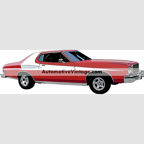 Starsky And Hutch Ford Torino Indoor Car Wall Sticker 12 Wide / Matte Finish