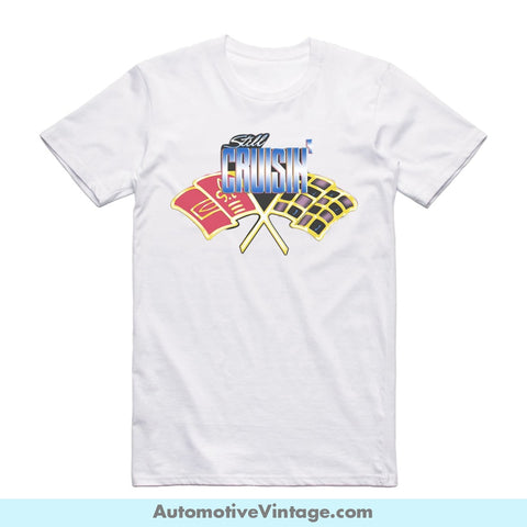 Still Cruisin Short-Sleeve Hot Rod Car T-Shirt White / S Front Of Shirt