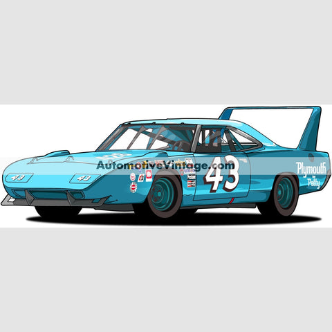 Richard Petty Superbird Indoor Car Wall Sticker 12 Wide / Matte Finish