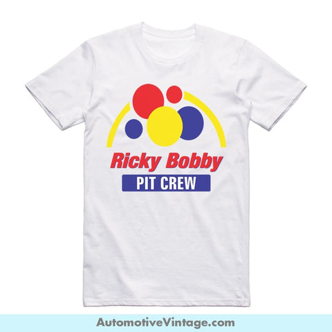 Talladega Nights Ricky Bobby Pit Crew Short Sleeve Movie T-Shirt White / S Front Of Shirt T-Shirt
