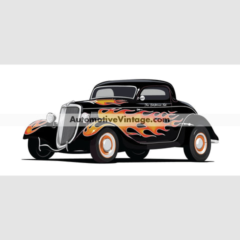 The California Kid Ford Coupe Indoor Car Wall Sticker 12 Wide / Matte Finish