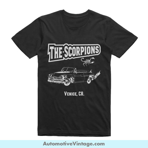The Scorpions Chopped Merc Grease Venice California Short Sleeve Black Movie T-Shirt / S Front Of