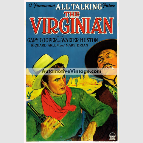 The Virginian (1929) - Nostalgic Full Color Premium Movie Poster 18 Wide × 24 High