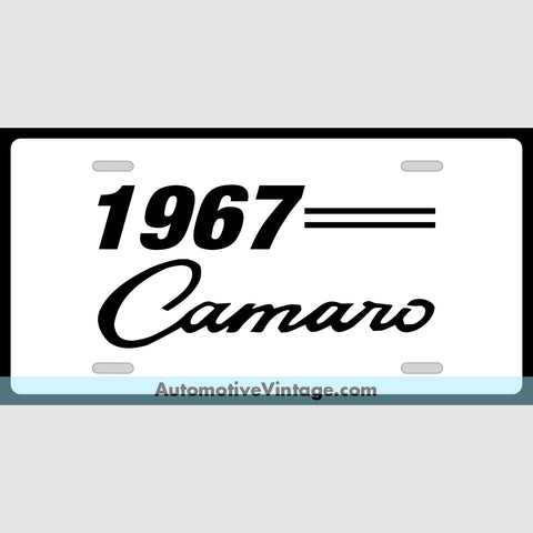 Chevrolet 1967 Chevy Camaro Custom License Plate White With Black Text