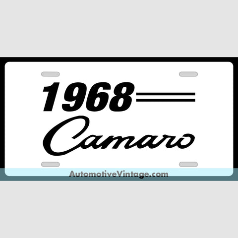 Chevrolet 1968 Chevy Camaro Custom License Plate White With Black Text