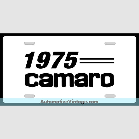 Chevrolet 1975 Chevy Camaro Custom License Plate White With Black Text