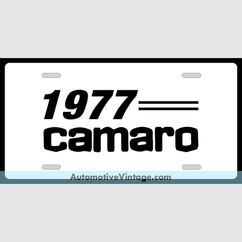Chevrolet 1977 Chevy Camaro Custom License Plate White With Black Text