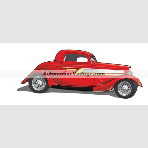 Zz Top Ford Coupe Indoor Car Wall Sticker 12 Wide / Matte Finish