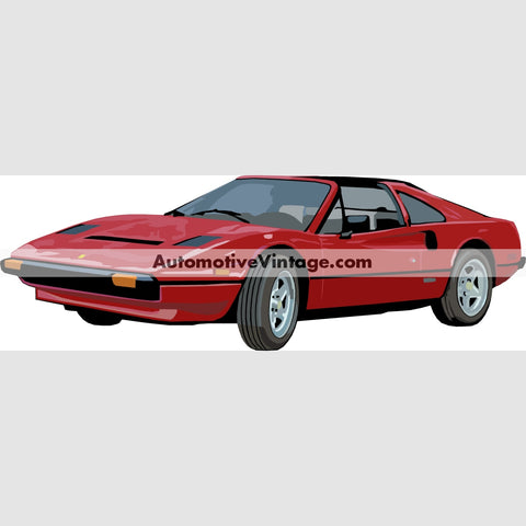 Magnum P.i. Ferrari 308 Gts Indoor Car Wall Sticker 12 Wide / Matte Finish