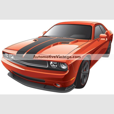 Dodge Challenger Muscle Car Indoor Wall Sticker 12 Wide / Matte Finish