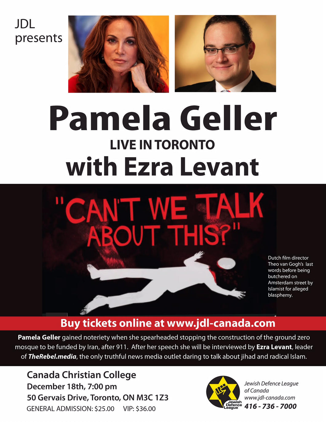 JDL Canada is proud to announce Pamela Geller's return to Toronto! Pamela Geller in Toronto: December 18, 2017 at 7pm