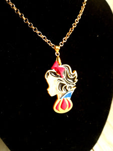 Snow White- Disney princess cameo stained glass necklace - Geek And Artsy