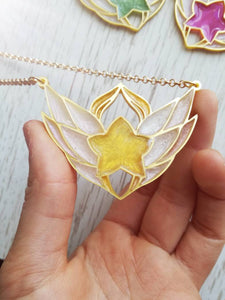 League of legends star guardians symbol pendant, magical girl necklace, winged necklace - Geek And Artsy