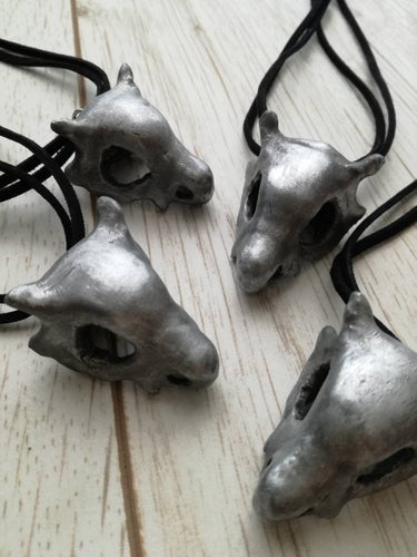 Weathered Cubone skull necklace, pokemon keychain, pokemon skull pendant - Geek And Artsy
