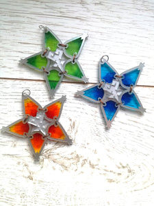 orange, green and blue wayfinders