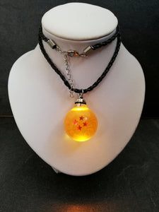 Dragon ball light up necklace, 4- star dragon ball, crystal ball pendant - Geek And Artsy